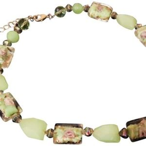 """Green Pink Floral Glass Inlay 16-18"""" Necklace"""